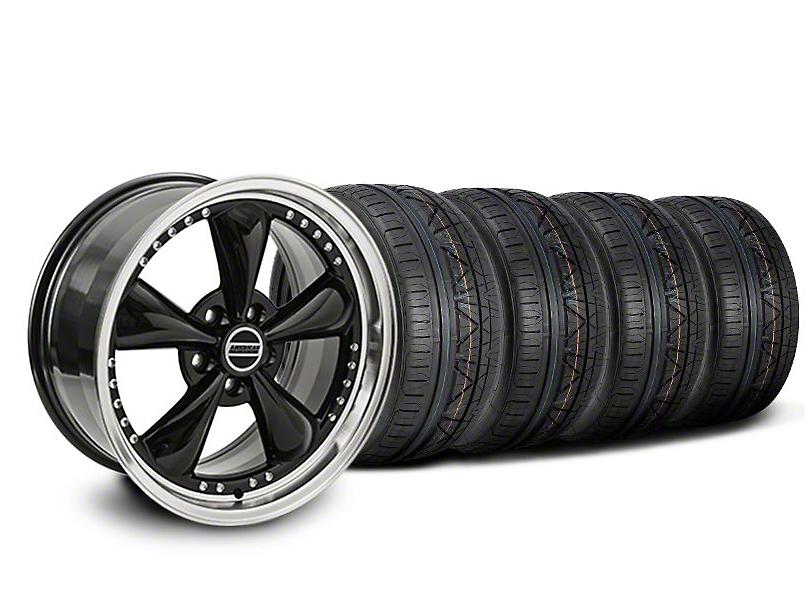 Staggered Bullitt Motorsport Black Wheel & NITTO INVO Tire Kit - 18x9/10 (05-14 GT, V6)