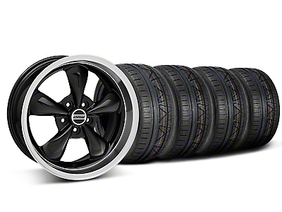 Staggered Deep Dish Bullitt Black Wheel & NITTO INVO Tire Kit - 18x9/10 (05-14 All, Excluding GT500)
