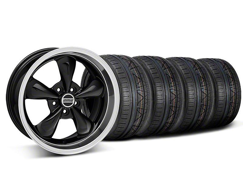 Staggered Deep Dish Bullitt Black Wheel & NITTO INVO Tire Kit - 18x9/10 (05-14 GT, V6)