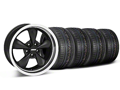 Staggered Matte Black Bullitt Deep Dish Mustang Wheel & NITTO INVO Tire Kit - 18x9/10 (05-14 GT, V6)