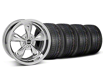 Staggered Chrome Deep Dish Bullitt Mustang Wheel & NITTO INVO Tire Kit - 18x9/10 (05-14 GT, V6)