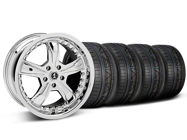 Staggered Shelby Razor Chrome Wheel & NITTO INVO Tire Kit - 18x9/10 (05-14 GT, V6)