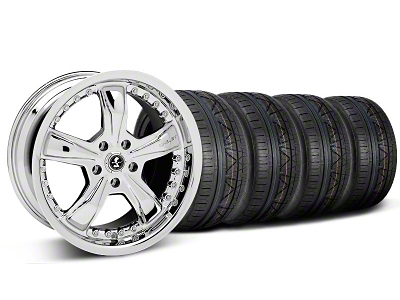 Shelby Staggered Razor Chrome Wheel & NITTO INVO Tire Kit - 18x9/10 (05-14 GT, V6)