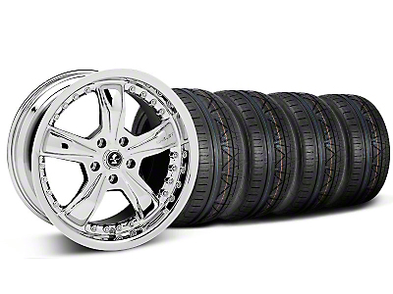Shelby Staggered Razor Chrome Wheel & NITTO INVO Tire Kit - 18x9/10 (05-14 GT, V6)