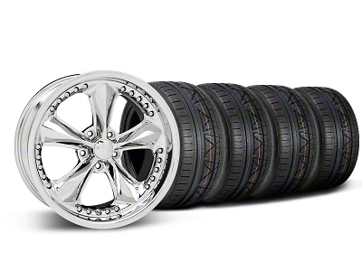 Foose Staggered Nitrous Chrome Wheel & NITTO INVO Tire Kit - 18x9/10 (05-14 GT, V6)
