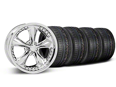 Staggered Foose Nitrous Chrome Wheel & NITTO INVO Tire Kit - 18x9/10 (05-14 GT, V6)