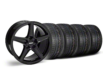 Staggered Saleen Black Wheel & NITTO INVO Tire Kit - 18x9/10 (05-14 All, Excluding GT500)