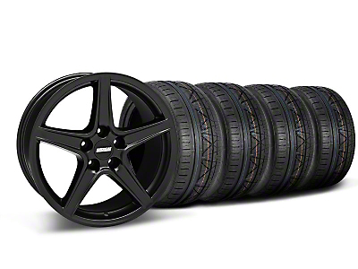 Staggered Matte Black Saleen Mustang Wheel & NITTO INVO Tire Kit - 18x9/10 (05-14 GT, V6)