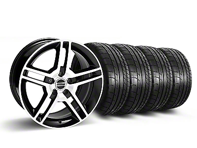 Staggered 2010 GT500 Black Machined Wheel & Mickey Thompson Tire Kit - 18x9/10 (05-14 All)