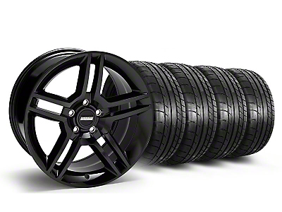 Staggered 2010 GT500 Black Wheel & Mickey Thompson Tire Kit - 18x9/10 (05-14 All)