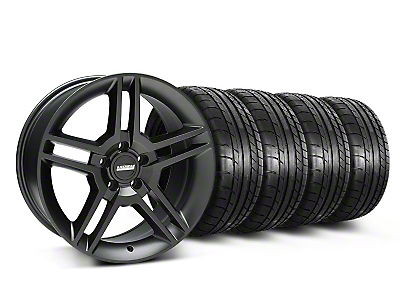 Staggered 2010 GT500 Matte Black Wheel & Mickey Thompson Tire Kit - 18x9/10 (05-14 All)
