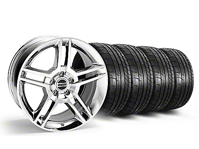 Staggered 2010 GT500 Style Chrome Wheel & Mickey Thompson Tire Kit - 18x9/10 (05-14 All)