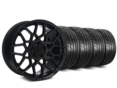 Staggered 2013 GT500 Style Gloss Black Wheel & Mickey Thompson Tire Kit - 18x9/10 (05-14 All)