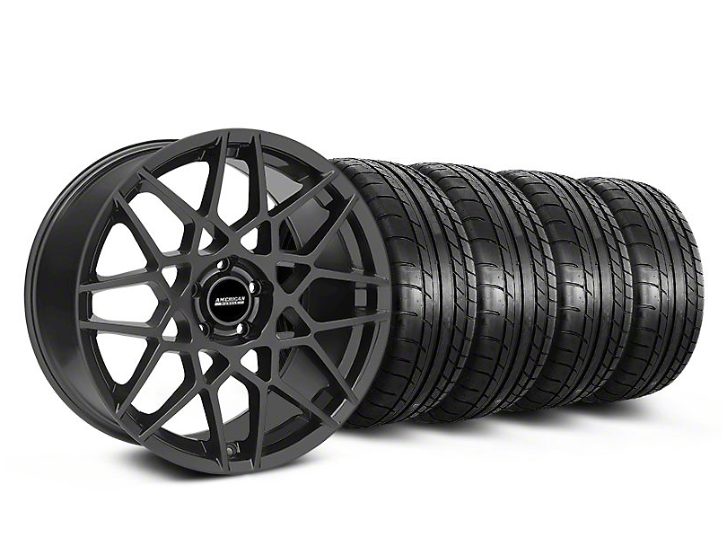Staggered 2013 GT500 Style Charcoal Wheel & Mickey Thompson Tire Kit - 18x9/10 (05-14 All)