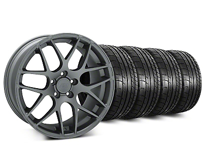 Staggered Charcoal AMR Wheel & Mickey Thompson Tire Kit - 18x9/10 (05-14 All)