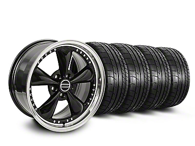 Staggered Black Bullitt Motorsport Wheel & Mickey Thompson Tire Kit - 18x9/10 (05-14 GT, V6)