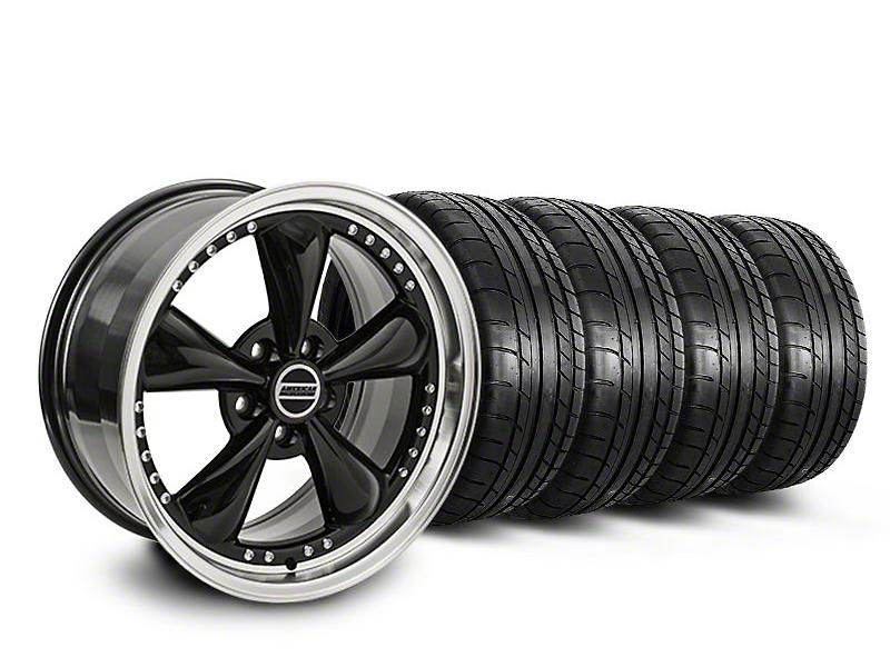 Staggered Bullitt Motorsport Black Wheel & Mickey Thompson Tire Kit - 18x9/10 (05-14 GT, V6)