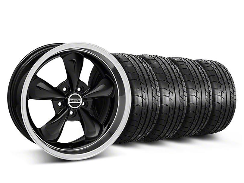Staggered Deep Dish Bullitt Black Wheel & Mickey Thompson Tire Kit - 18x9/10 (05-14 GT, V6)