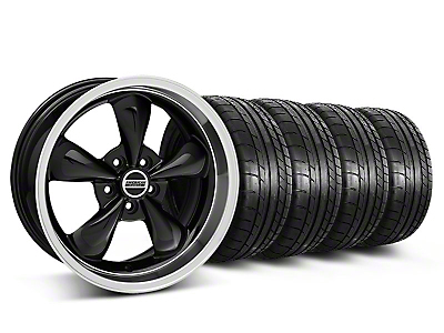 Staggered Deep Dish Bullitt Black Wheel & Mickey Thompson Tire Kit - 18x9/10 (05-14 GT, V6)
