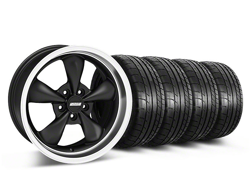 Staggered Bullitt Deep Dish Matte Black Wheel & Mickey Thompson Tire Kit - 18x9/10 (05-10 GT; 05-14 V6)