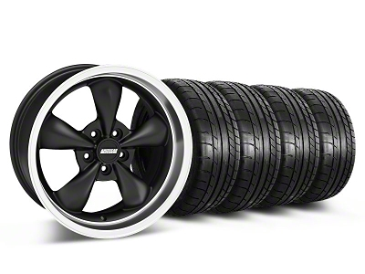 Staggered Bullitt Deep Dish Matte Black Wheel & Mickey Thompson Tire Kit - 18x9/10 (05-14 GT, V6)