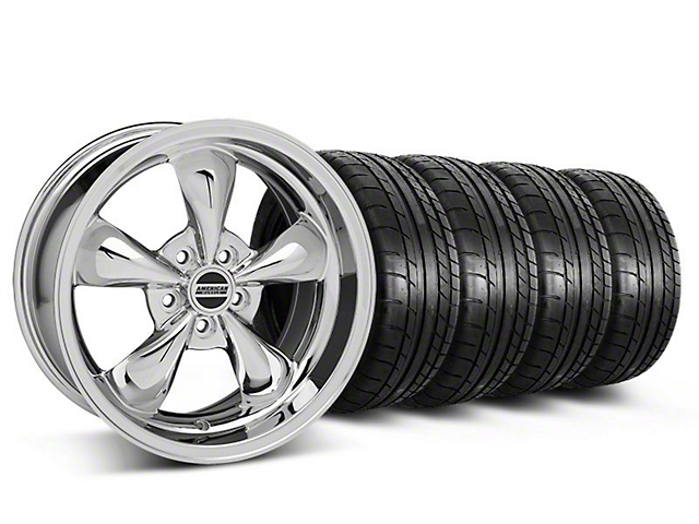 Staggered Deep Dish Bullitt Chrome Wheel & Mickey Thompson Tire Kit - 18x9/10 (05-10 GT; 05-14 V6)