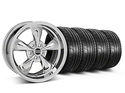 Staggered Chrome Deep Dish Bullitt Mustang Wheel & Mickey Thompson Tire Kit - 18x9/10 (05-14 All, Excluding GT500)