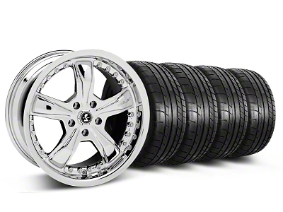 Shelby Staggered Razor Chrome Wheel & Mickey Thompson Tire Kit - 18x9/10 (05-14 GT, V6)