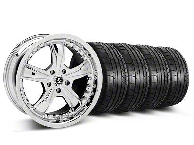 Shelby Staggered Razor Chrome Wheel & Mickey Thompson Tire Kit - 18x9/10 (05-14 GT, V6)