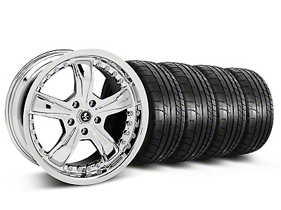 Staggered Chrome Shelby Razor Mustang Wheel & Mickey Thompson Tire Kit - 18x9/10 (05-14 GT, V6)