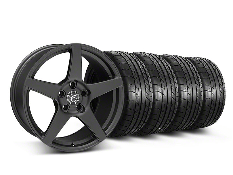 Forgestar Staggered CF5 Monoblock Matte Black Wheel & Mickey Thompson Tire Kit - 18x9/10 (05-14 All)