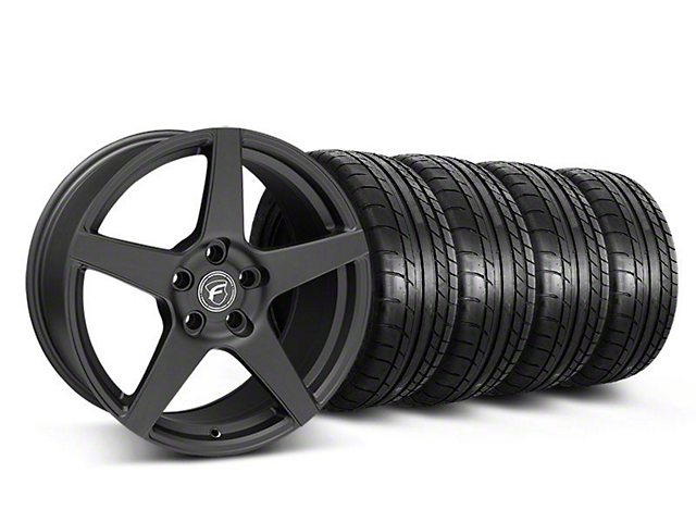Staggered Forgestar CF5 Monoblock Matte Black Wheel & Mickey Thompson Tire Kit - 18x9/10 (05-14 All)