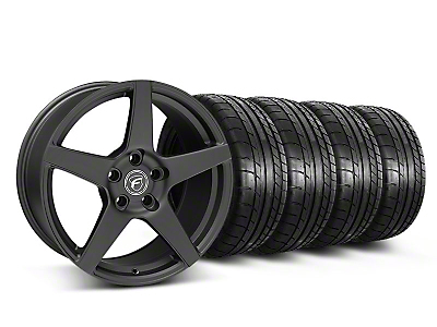 Forgestar Staggered CF5 Monoblock Matte Black Wheel & Mickey Thompson Tire Kit - 18x9/10 (05-14 All)