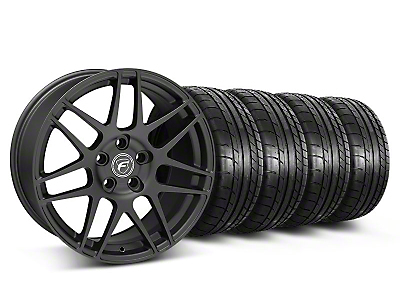 Staggered Matte Black Forgestar F14 Monoblock Wheel & Mickey Thompson Tire Kit - 18x9/10 (05-14 All)