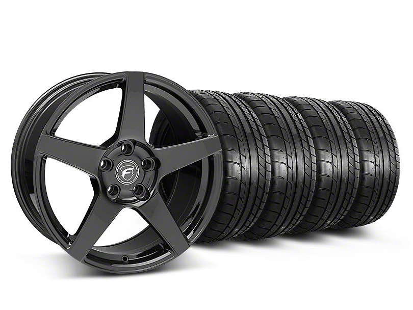 Staggered Forgestar CF5 Monoblock Gloss Black Wheel & Mickey Thompson Tire Kit - 18x9/10 (05-14 All)