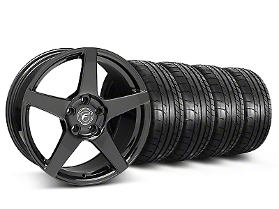 Staggered Gloss Black Forgestar CF5 Monoblock Wheel & Mickey Thompson Tire Kit - 18x9/10 (05-14 All)