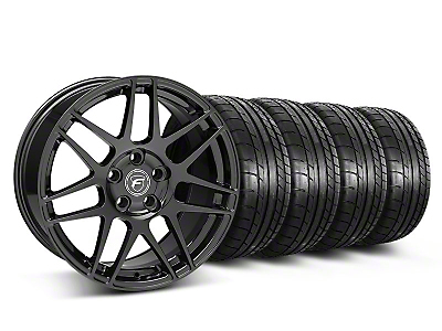 Forgestar Staggered F14 Monoblock Gloss Black Wheel & Mickey Thompson Tire Kit - 18x9/10 (05-14 All)