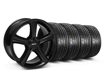 Staggered 2010 GT Premium Style Black Wheel & Mickey Thompson Tire Kit - 18x9/10 (05-14)