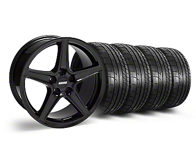Staggered Saleen Style Black Wheel & Mickey Thompson Tire Kit - 18x9/10 (05-14 GT, V6)