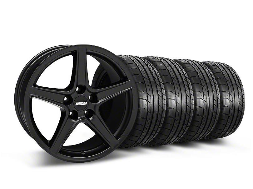 Staggered Saleen Style Matte Black Wheel & Mickey Thompson Tire Kit - 18x9/10 (05-14 GT, V6)