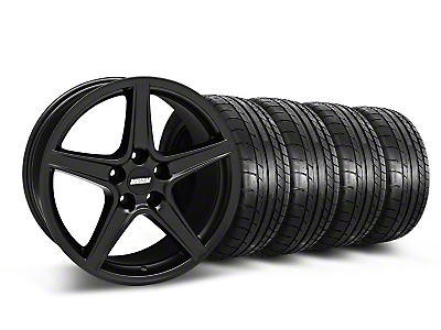 Staggered Matte Black Saleen Mustang Wheel & Mickey Thompson Tire Kit - 18x9/10 (05-14 GT, V6)