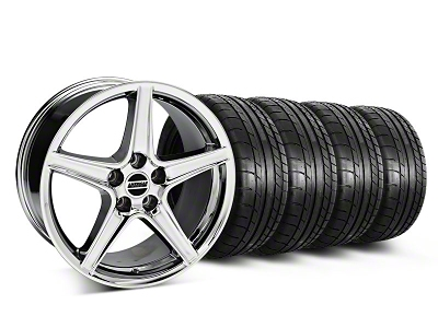 Staggered Saleen Style Chrome Wheel & Mickey Thompson Tire Kit - 18x9/10 (05-14 All, Excluding GT500)