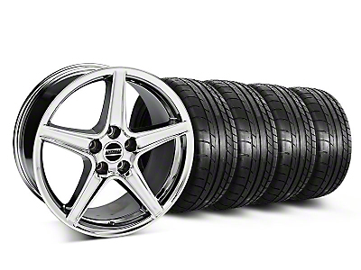 Staggered Chrome Saleen Style Wheel & Mickey Thompon Tire Kit - 18x9/10 (05-14 All, Excluding GT500)