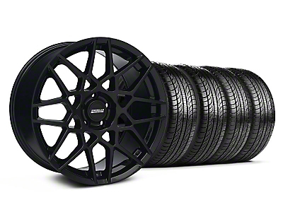 Staggered 2013 GT500 Style Gloss Black Wheel & Pirelli Tire Kit - 19x8.5/10 (05-14 GT, V6)