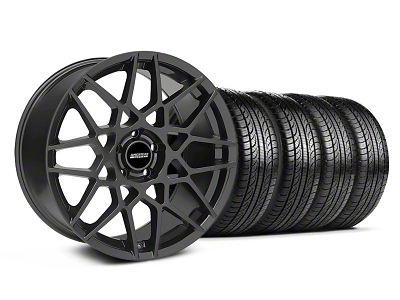 Staggered 2013 GT500 Style Charcoal Wheel & Pirelli Tire Kit - 19x8.5/10 (05-14 GT, V6)