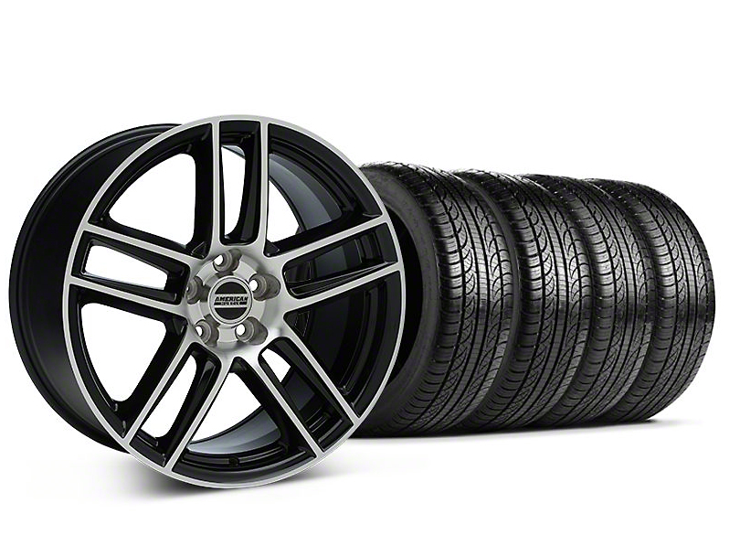 Staggered Laguna Seca Style Black Machined Wheel & Pirelli Tire Kit - 19x9/10 (05-14 All)