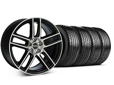 Staggered Boss Laguna Seca Black Machined Wheel & Pirelli Tire Kit - 19x9/10 (05-14 All)