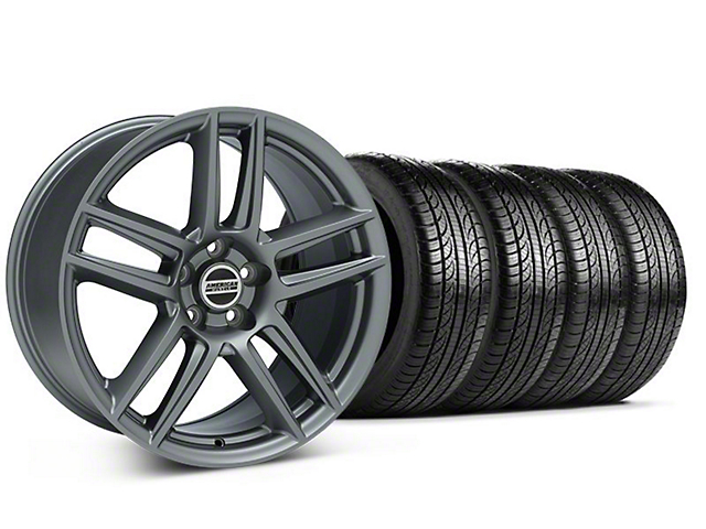 Staggered Laguna Seca Style Charcoal Wheel & Pirelli Tire Kit - 19x9/10 (05-14 All)