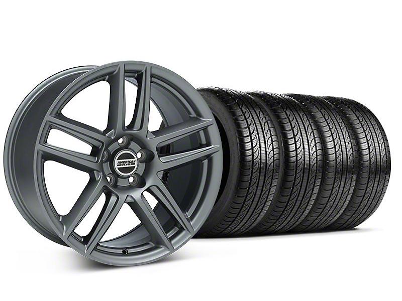 Staggered Laguna Seca Style Charcoal Wheel & Pirelli Tire Kit - 19x9/10 (05-14 All)