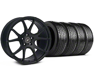 Forgestar Staggered CF5V Monoblock Matte Black Wheel & Pirelli Tire Kit - 19x9/10 (05-14 All)